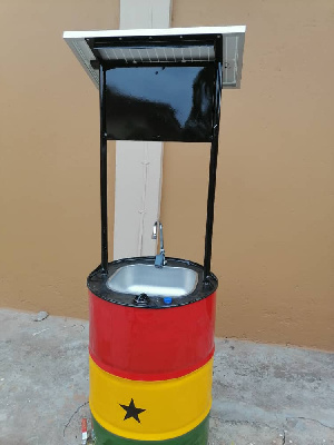 Some inventions by Ghanaians in the advent of the COVID-19 is a Solar Powered Handwashing Machine
