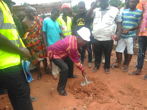 Prof. Yankah at the site of the construction