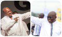 President John Dramani Mahama (L) and President-elect, Nana Akufo-Addo (R)