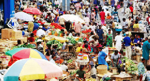 Aerial view of Makola market in Accra