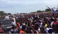 Nana Akufo-Addo arriving at the Akojo Park in Tema