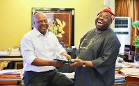 Chief Dele Momodu [R] and President Mahama