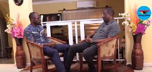 GhanaWeb Editor Kwabena Kyenkyenhene Boateng(L) with Sammy Crabbe(R) Former 2nd Vice Chairman of NPP
