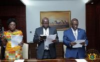 Amma Adomaa Twum-Amoah, Eric Odoi-Anim and Frank Okyere taking the oath of office