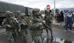 Soldiers guard the entrance to the Sierra Centro Norte prison in Special Police units