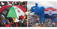 File Photo: Flags of the biggest political parties in Ghana