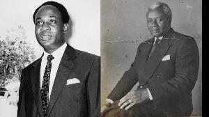 Dr. Kwame Nkrumah (L) Ghana's first President and Dr. Joseph Boakye Danquah (R)