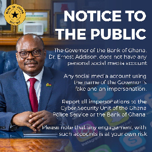 Dr. Ernest Addison is the Governor of the Bank of Ghana