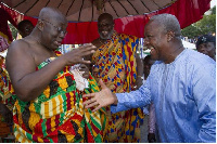 Mahama and Nana Addo exchanging pleasantries