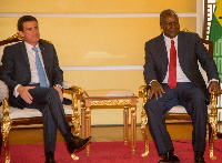President John Mahama (R) and Mr. Valls at the Flagstaff House