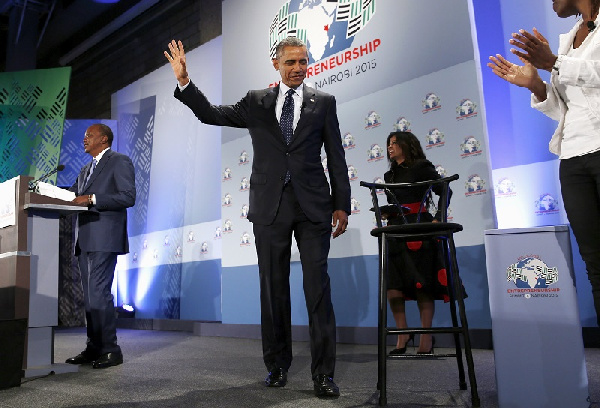 Obama after speaking about the hopeful economic progress in Africa. Photo: Reuters