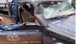 The angry residents damaged the police vehicle during an altercation
