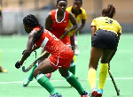 A scene from the women's hockey game between Ghana and Kenya