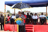 Former President Jerry John Rawlings addressing the event