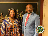 Deputy Minister of Information, Hon Pius Enam Hadzide with Mrs Martha Pobee
