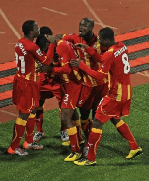 A file photo of the Black Stars celebrating their match winner against USA at the 2010 World Cup