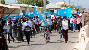 Supporters of different opposition presidential candidates demonstrate in Mogadishu (AFP)