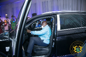 President Nana Addo Dankwa Akufo-Addo at the unveiling ceremony of VW cars assembled in Ghana