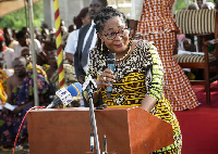 Mrs. Lordina Mahama addressing residents at Tarkwa Nuaem