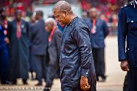 President Mahama in a somber mood