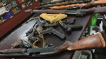 The suspects broke into the Police Stations and made away with the guns