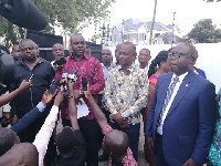 Sports Minister, Isaac Asiamah [in an African print] with Kwesi Appiah, journalists at the event