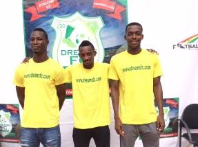 Dreams Fc's new signings Isaac Akrong, Emmanuel Eli Keke and Aaron Amoah.