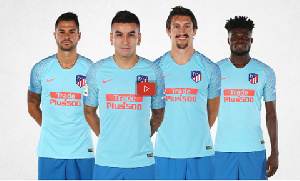 Partey with his some of his mates in the Atletico's new away kit