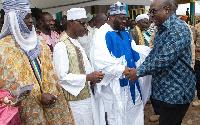 President John Dramani Mahama with members of the Muslim Community