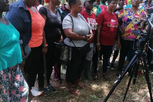 Some residents of the Oti community gathered to listen to the Queenmother
