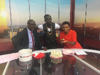 Okyeame Kwame (middle) with hosts of Tv3's New Day