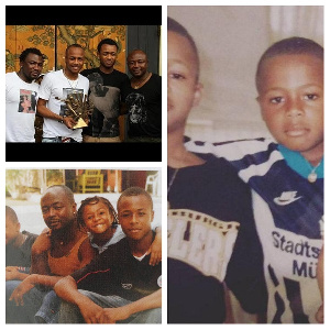 The Ayew brothers brothers with their father