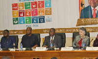 Prez Mahama (M) flanked by other dignitaries at the launch of the SDGs in Ghana