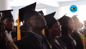 Lil Win with other matriculates singing the National Anthem
