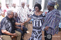 Former President John Mahama with others at the funeral grounds of the late Luke Baziing Bagbin