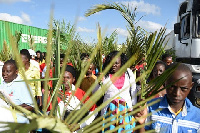 Church members parading with their palm fronds