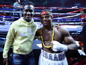 David Accam and Isaac Dogboe after the latter's bout