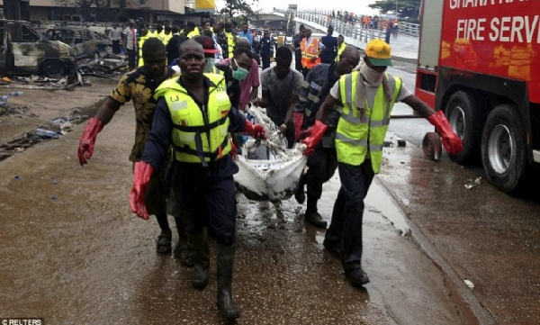 Rescuers carry body of victim