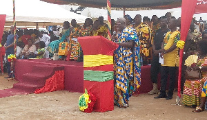 The Western Regional Minister, Dr. Kwaku Afriyie speaking at the climax of the Kundum festival