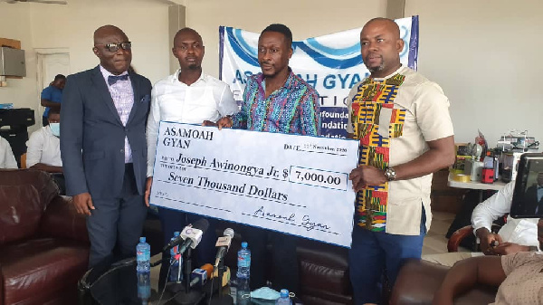 The donation will go to support Joseph Awiningya Jnr.