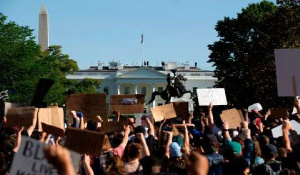 Protesters gathered at the White House on Monday