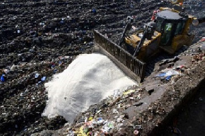 Rice been dumped at a landfill site