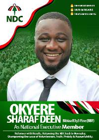 A poster of Sharaf Deen Okyere
