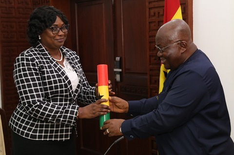 Ms Cynthia Lamptey with President Akufo-Addo during her swearing in