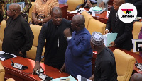 Mahama Ayariga(2nd left) at the center of bribery controversy in Parliament