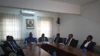 Joe Ghartey (third left) and Richard Dombo (fourth right) meet staff of GRDA and Ghana Railways Co.