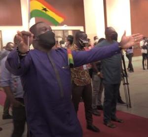 Member of Parliament for Ningo Prampram, Sam George seen dancing at the event