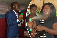 Lethebo Rabalago (L) claims Doom insecticide can heal people with cancer and HIV