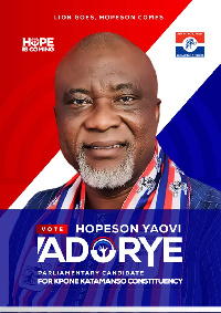 Hopeson Yaovi Adorye seeks to represent the people Kpone Katamanso Constituency