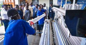 Vice President, Mahamudu Bawumia supervising the factory